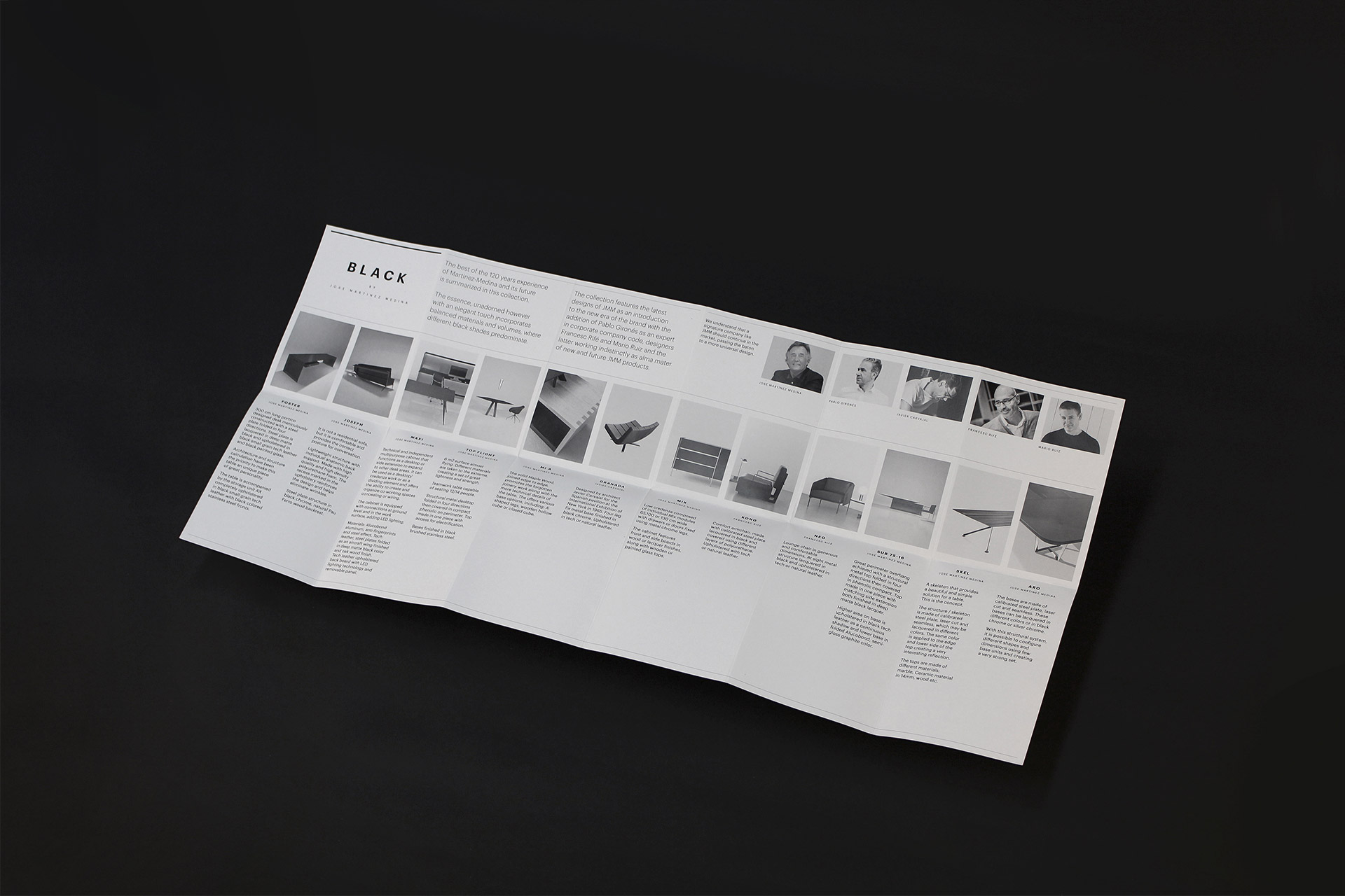 Fase, estudio de diseño gráfico. Brochure desplegable, Black Tone by JMM.