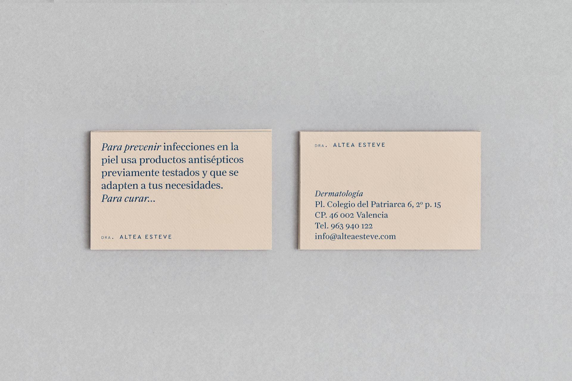 Fase, estudio de diseño gráfico. Identidad corporativa para la dermatóloga Altea Esteve.