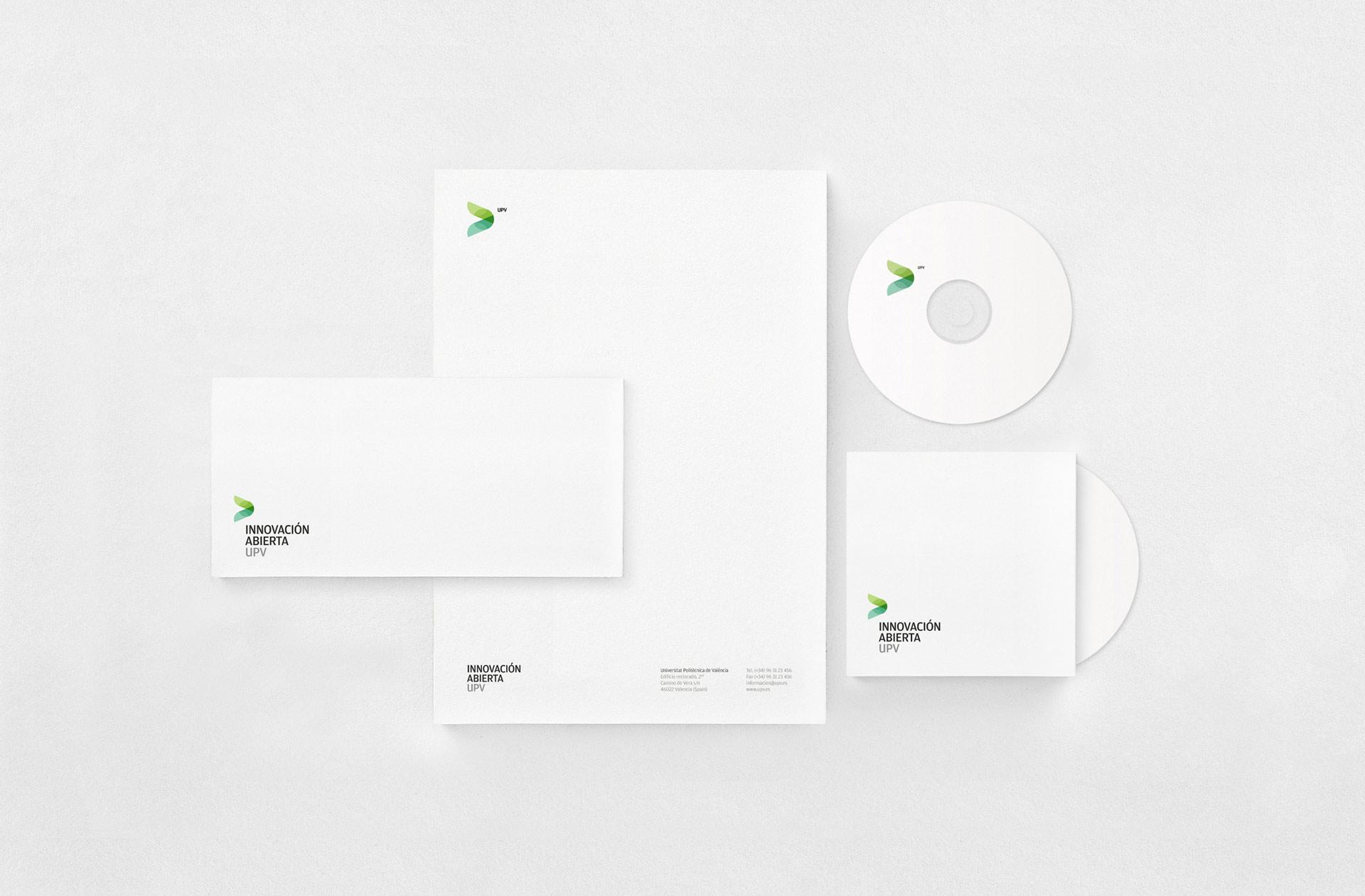 Fase, estudio de diseño gráfico. Identidad corporativa de Innovación Abierta, Universitat Politècnica de València. Papelería