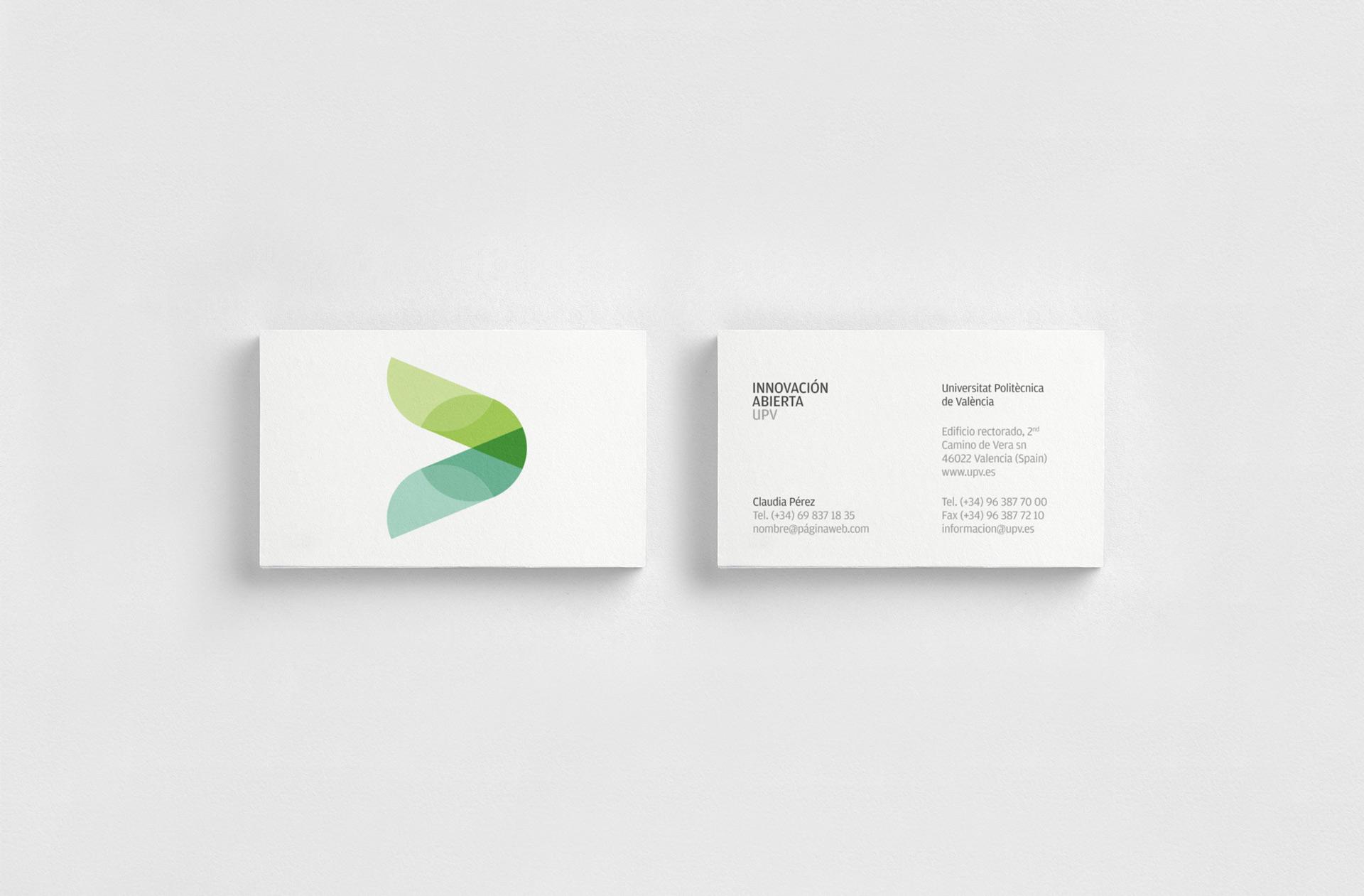 Fase, estudio de diseño gráfico. Identidad corporativa de Innovación Abierta, Universitat Politècnica de València. Tarjeta