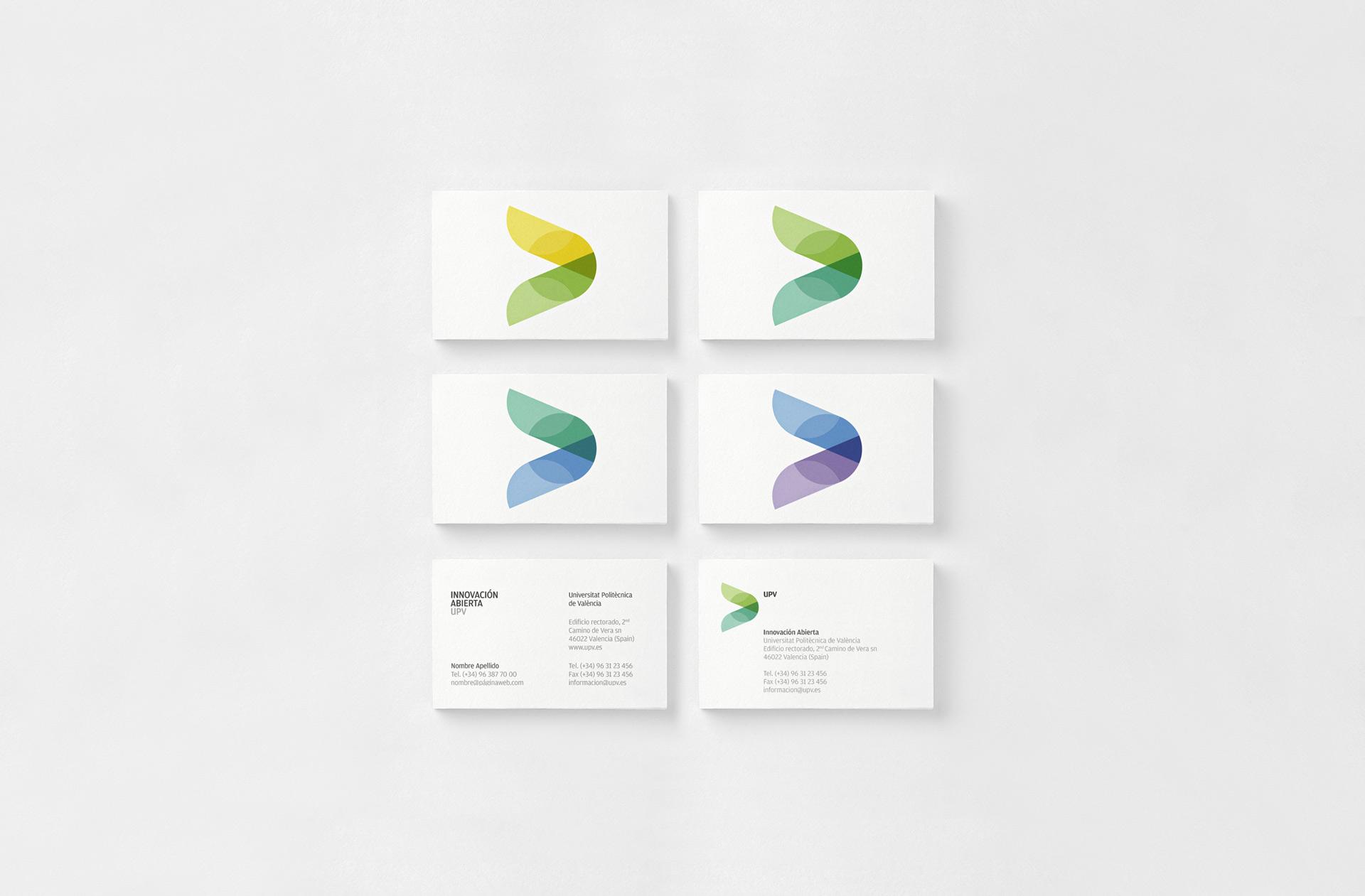 Fase, estudio de diseño gráfico. Identidad corporativa de Innovación Abierta, Universitat Politècnica de València. Tarjetas