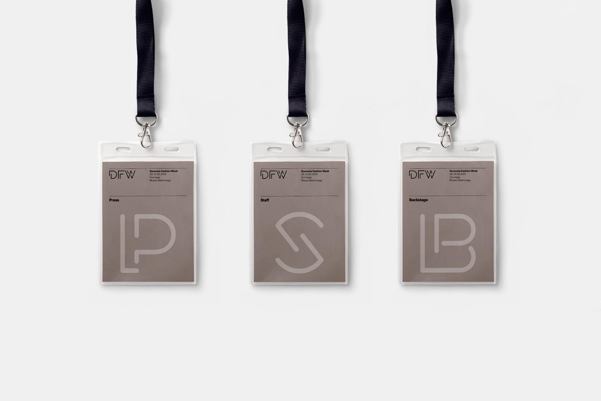 Fase, estudio de diseño gráfico. Identidad visual y tipografía para Donostia Fashion Week. Acreditaciones