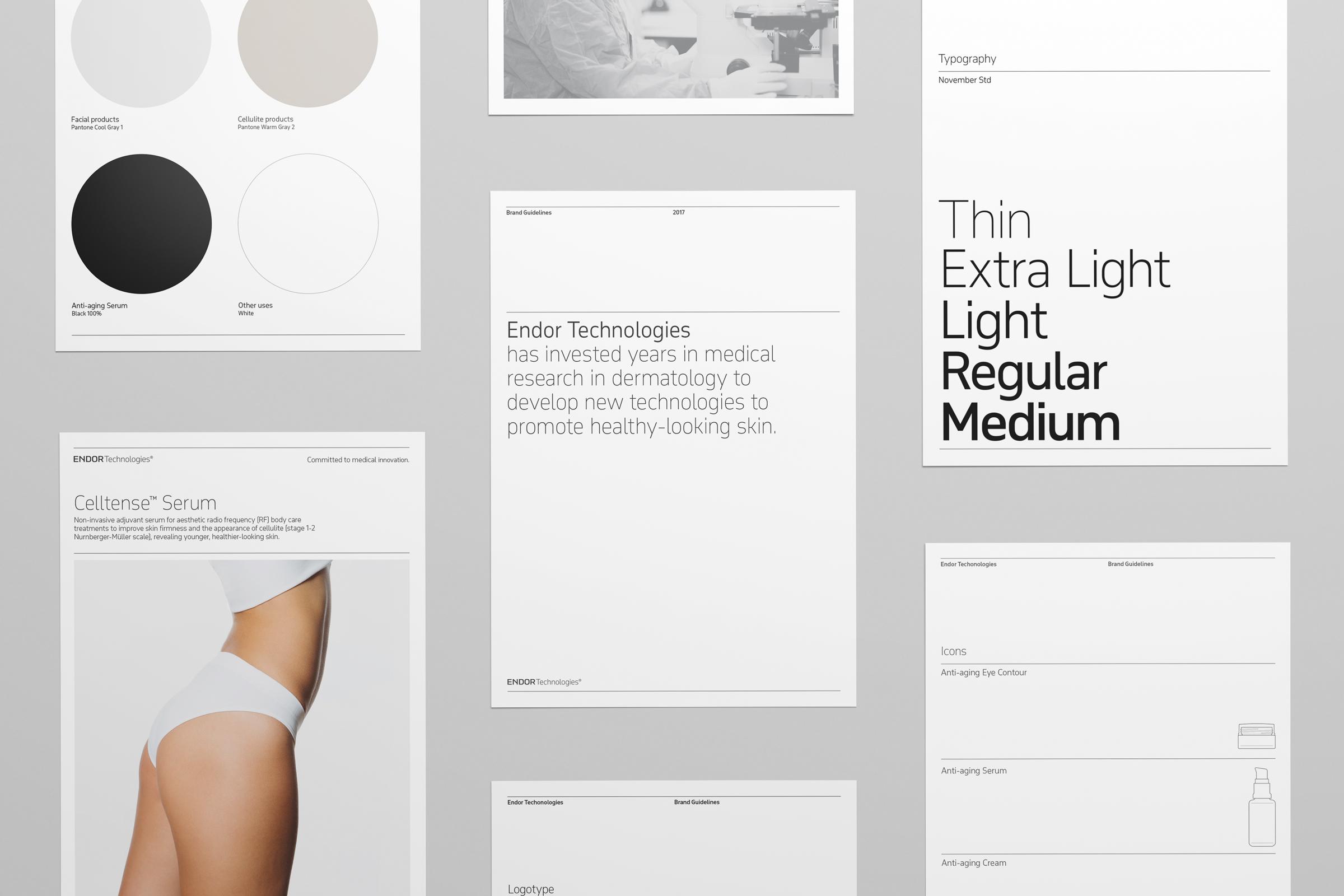 Fase, estudio de diseño gráfico. Identidad corporativa y diseño de packaging para Endor Technologies. Brand guidelines.