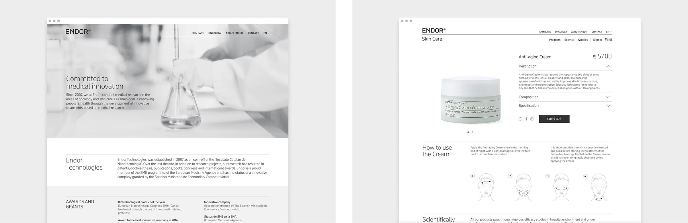 Fase, estudio de diseño gráfico. Identidad corporativa y diseño de packaging para Endor Technologies. Web.