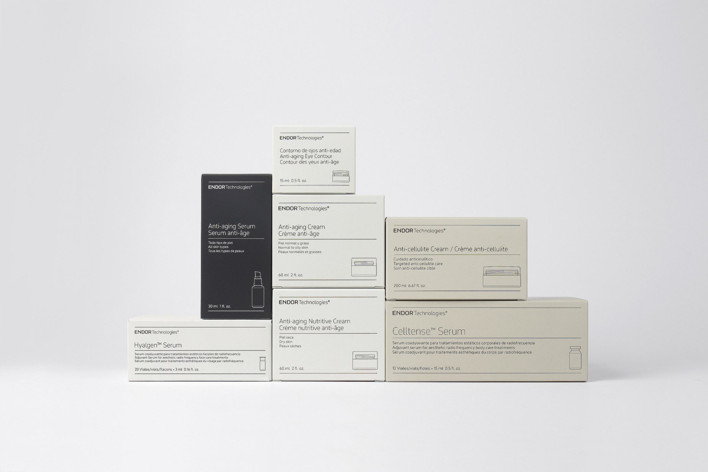 Fase, estudio de diseño gráfico. Identidad corporativa y diseño de packaging para Endor Technologies. Cajas.