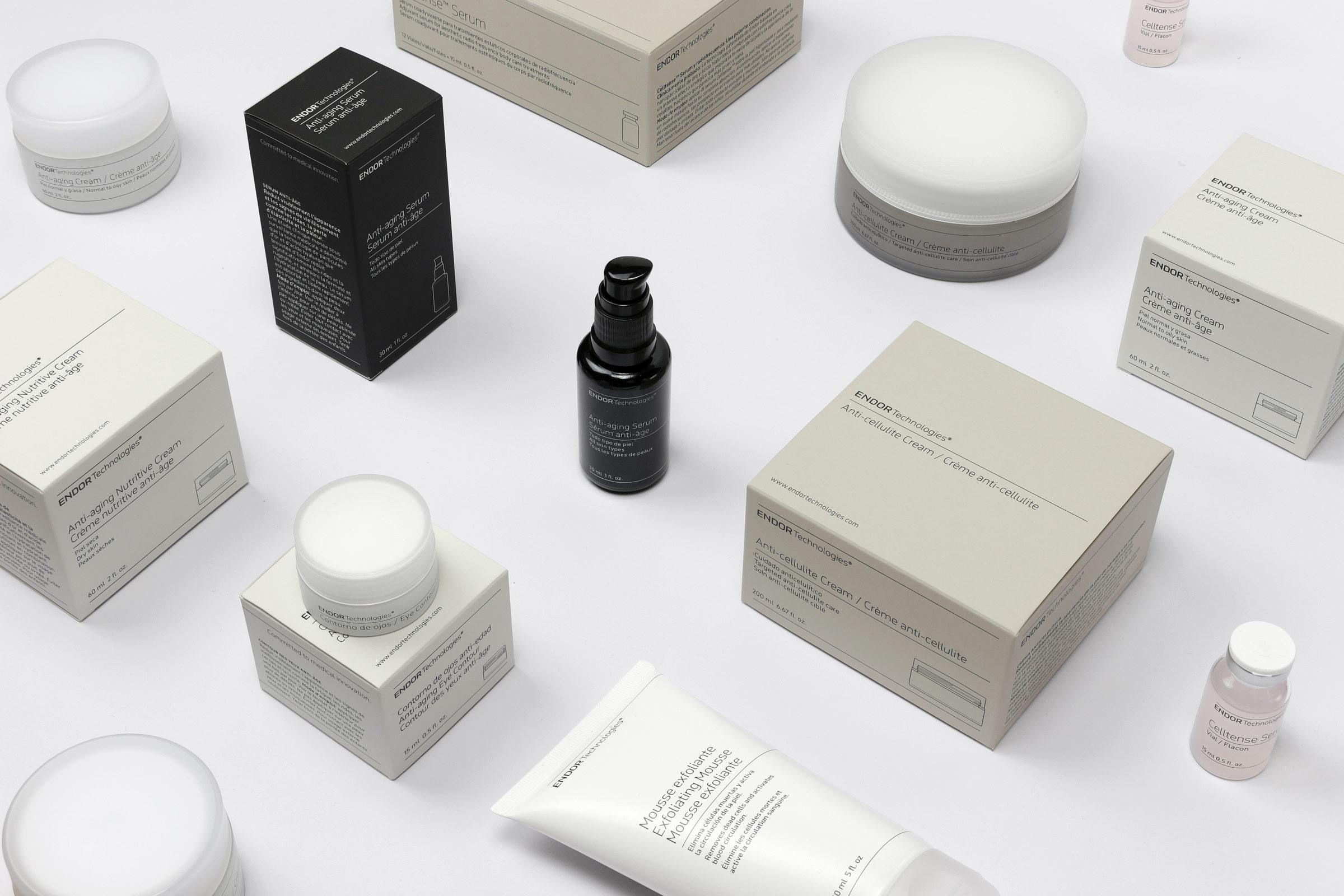 Fase, estudio de diseño gráfico. Identidad corporativa y diseño de packaging para Endor Technologies. Cajas y envases.