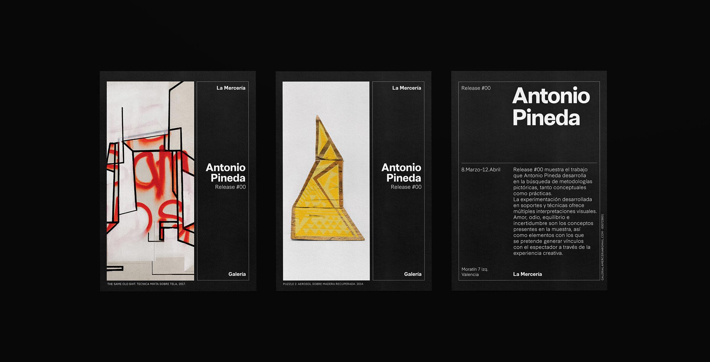 Fase, estudio de diseño gráfico. Identidad corporativa La Mercería, galería de arte. Postales Antonio Pineda.