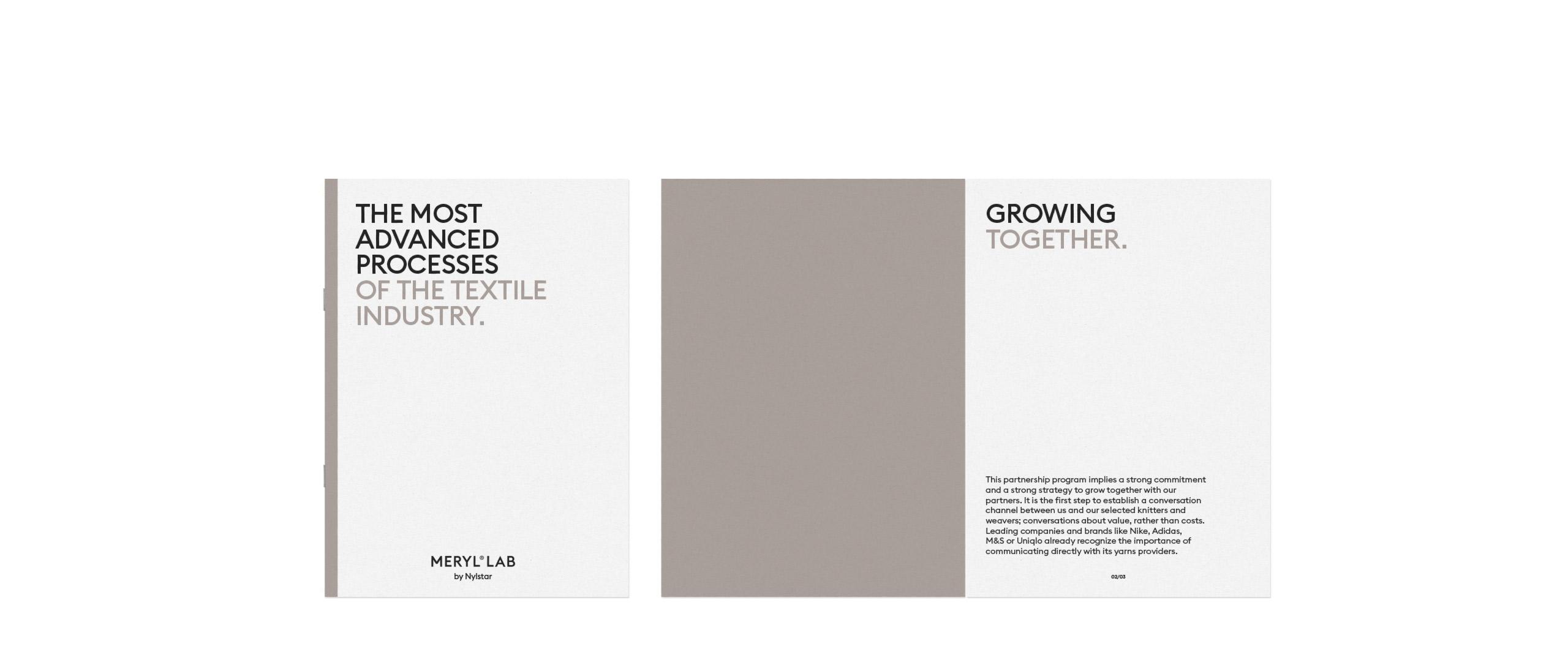 Fase, estudio de diseño gráfico. Identidad corporativa Meryl. Dossier empresa.