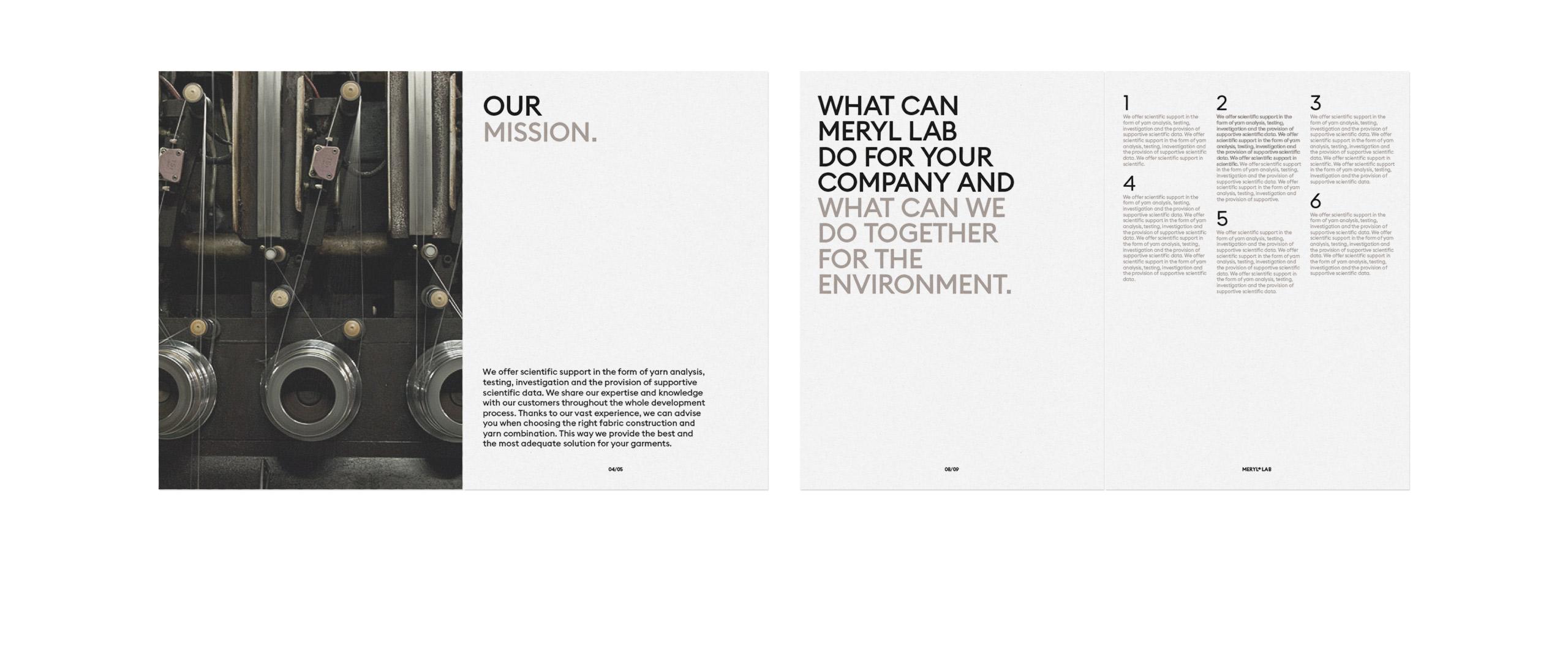 Fase, estudio de diseño gráfico. Identidad corporativa Meryl. Dossier empresa