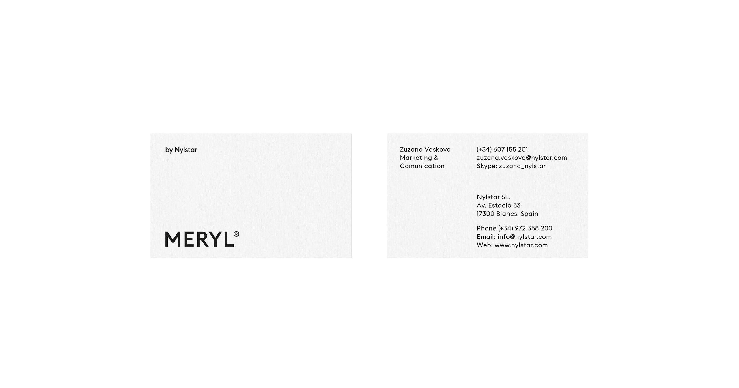 Fase, estudio de diseño gráfico. Identidad corporativa Meryl. Tarjeta.
