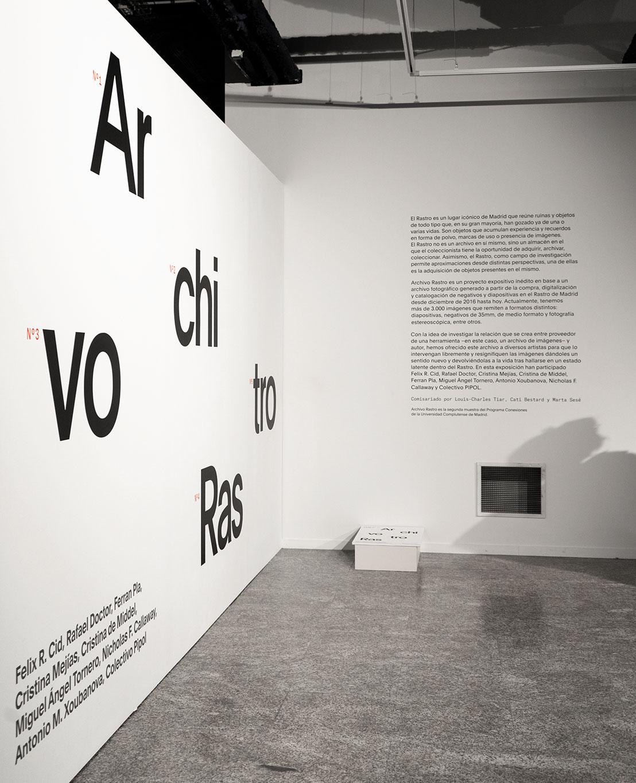 Fase, estudio de diseño gráfico. Identidad exposición de arte Archivo Rastro. Exposición..