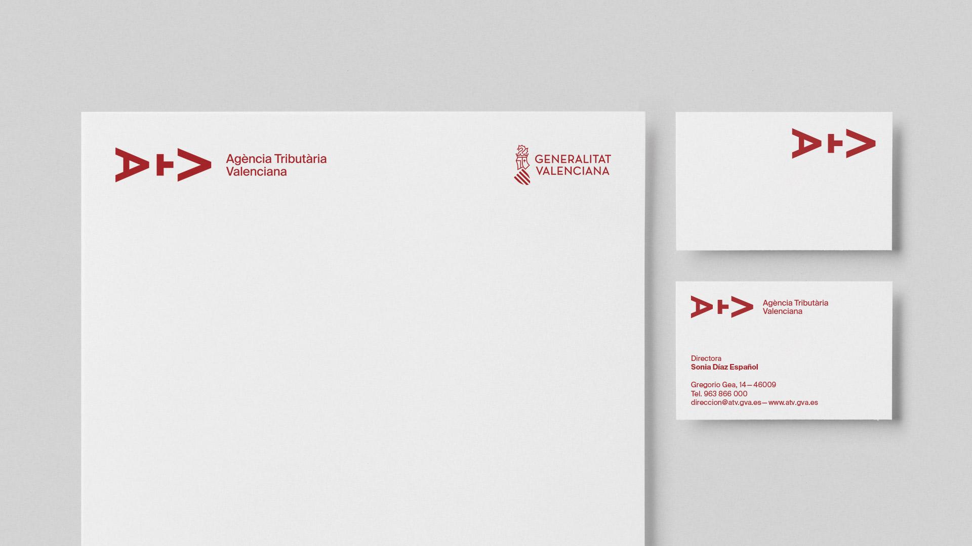Fase, estudio de diseño gráfico. Identidad Agència Tributària Valenciana. Papeleria.