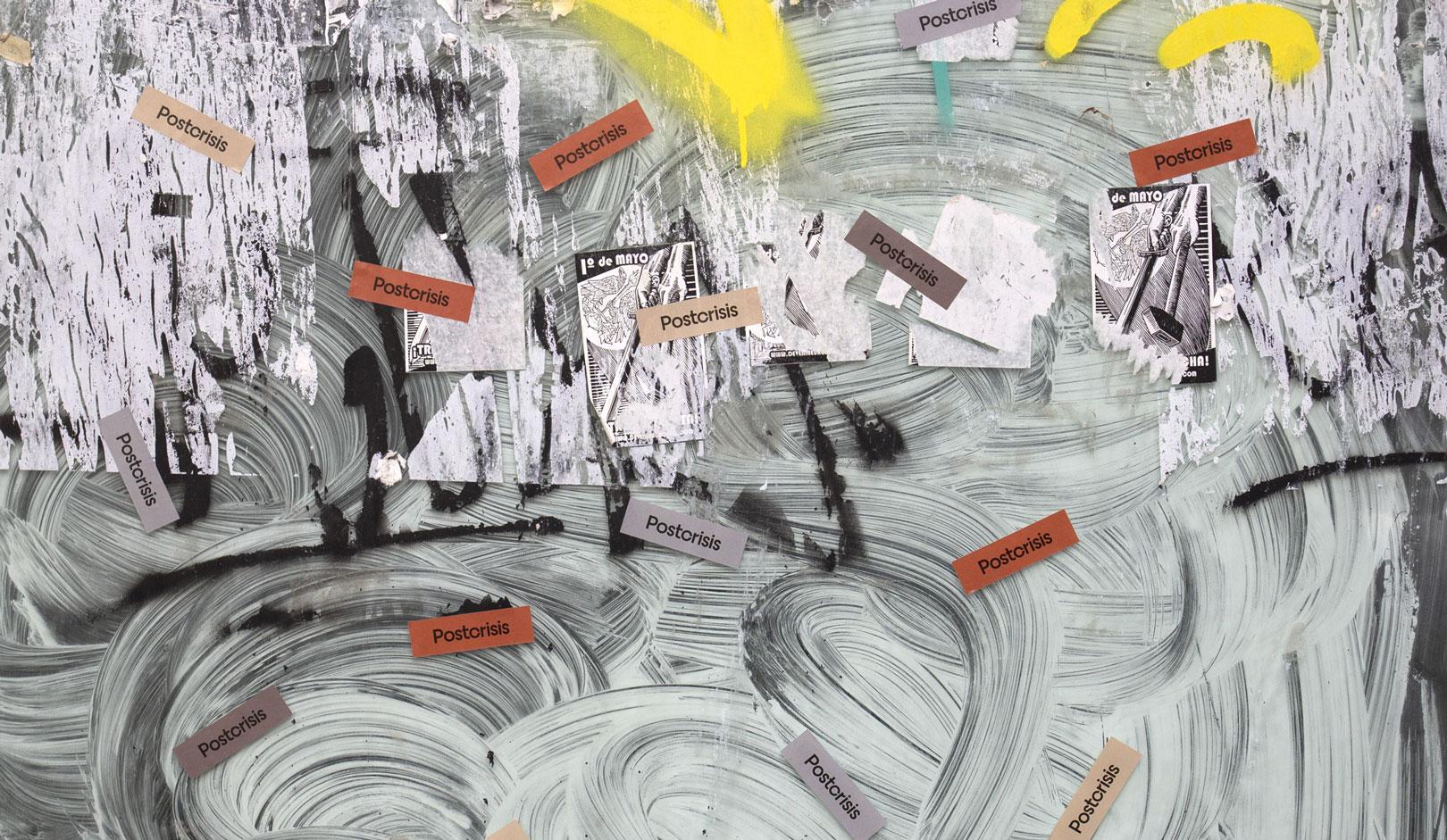 Fase, estudio de diseño gráfico. Identidad exposición de arte Postcrisis. Adhesivos.