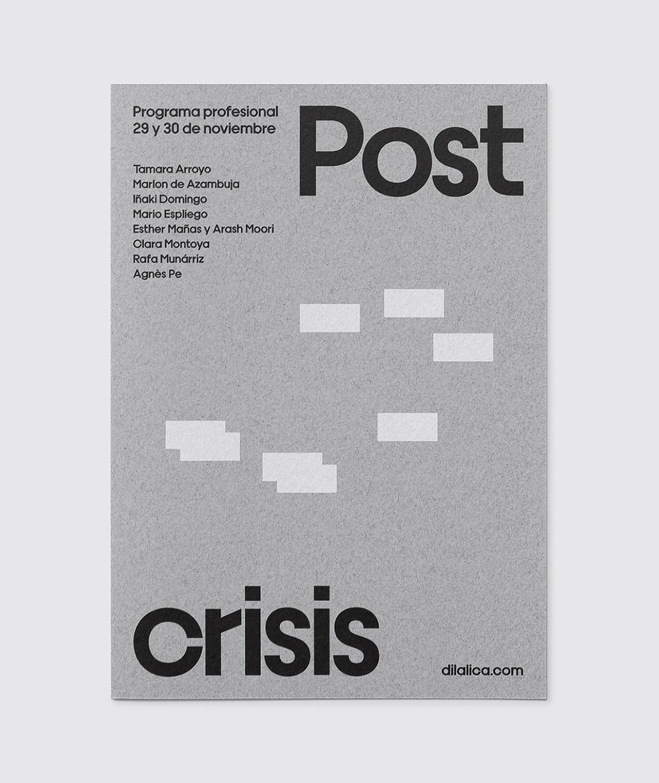 Fase, estudio de diseño gráfico. Identidad exposición de arte Postcrisis. Programa Profesional..