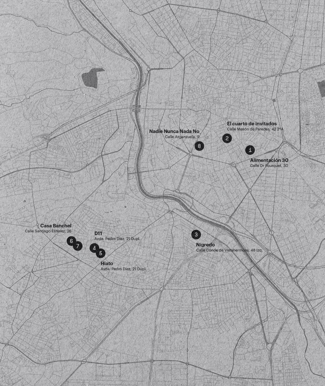 Fase, estudio de diseño gráfico. Identidad exposición de arte Postcrisis. Programa Profesional, mapa.