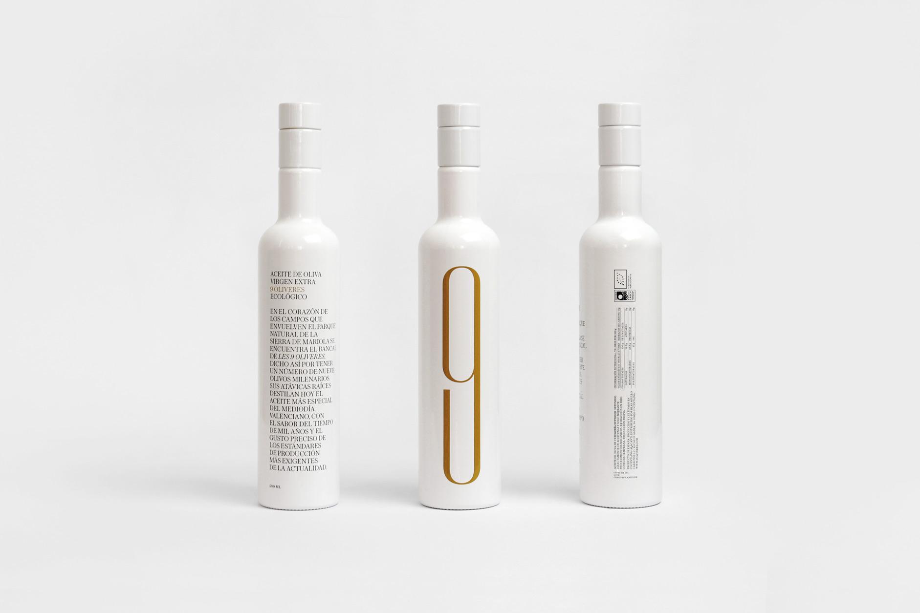 Fase, estudio de diseño gráfico. 9 Oliveres, diseño packaging aceite. Vistas botella
